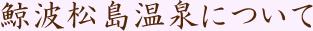 鯨波松島温泉について